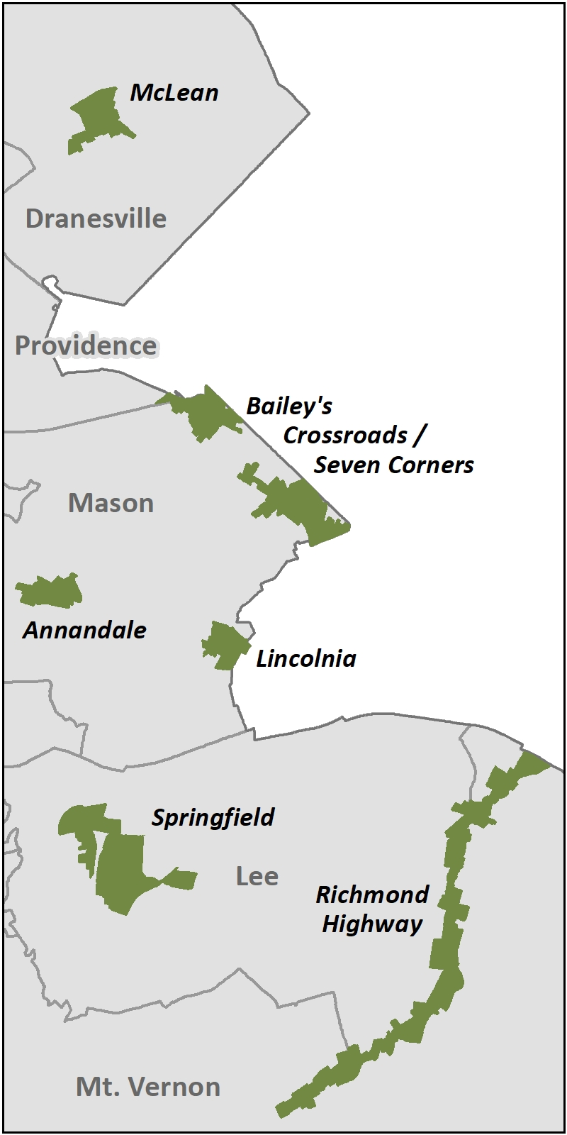 Map of the locations of the Economic Incentive Program Areas